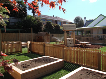 View of our play area and garden.